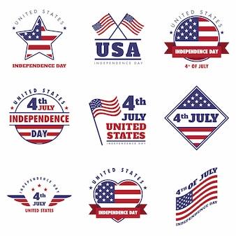4 luglio emblema del giorno dell'indipendenza degli stati uniti, logo set
