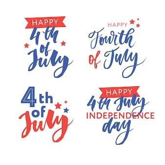 4 luglio. felice giorno dell'indipendenza calligrafia