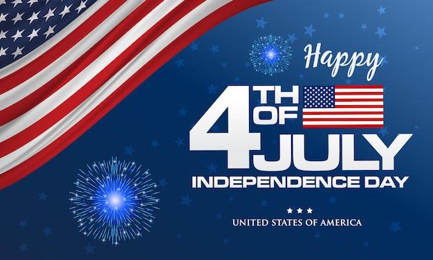 4 luglio. felice giorno dell'indipendenza dell'america sfondo con sventolando bandiera e fuochi d'artificio