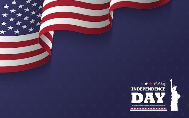 4 luglio felice giorno dell'indipendenza dello sfondo america. design piatto silhouette statua della libertà con testo e sventolando la bandiera americana
