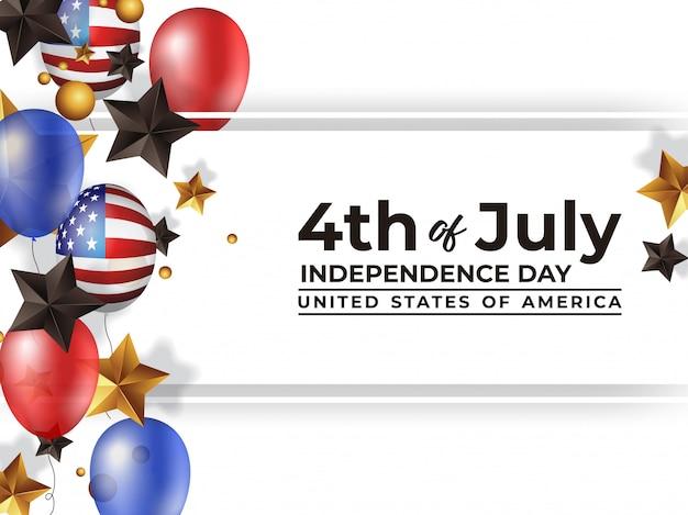 4 luglio giorno dell'indipendenza america con palloncino realistico