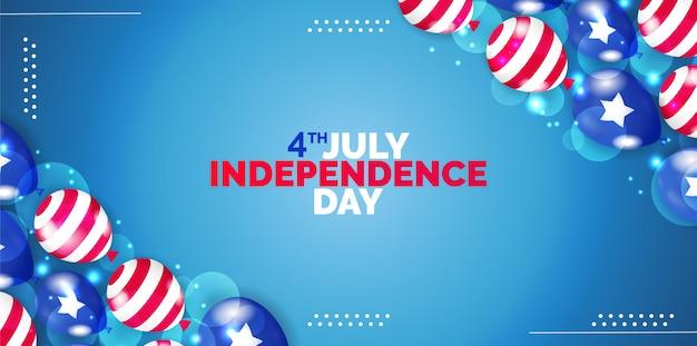4 luglio, happy independence day banner illustrazione