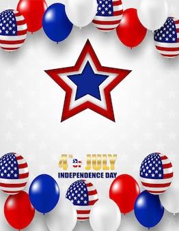 4 luglio happy independence day usa. design con hite, palloncini blu e rossi e stella della bandiera americana