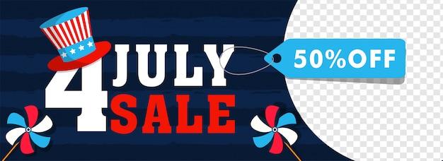 4 luglio, intestazione di vendita di independence day o design di banner con