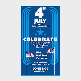 4 luglio modello di invito giorno dell'indipendenza degli stati uniti con barbecue, festa in piscina e attrazione di fuochi d'artificio.