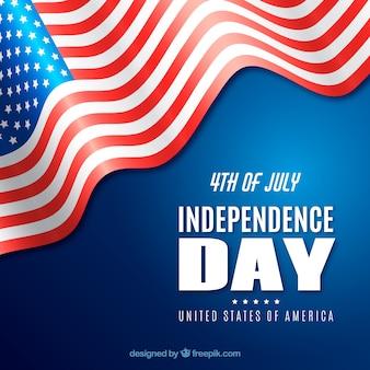 4 luglio sfondo con bandiera realistica