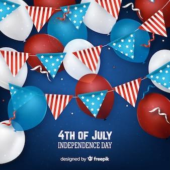 4 luglio - sfondo del giorno dell'indipendenza con palloncini