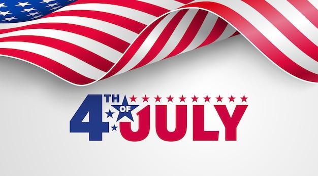 4 luglio usa festa dell'indipendenza con bandiera americana.