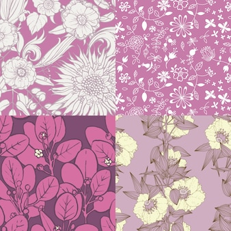 4 modelli di fiori in viola