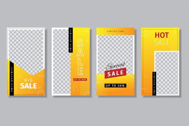 4 set di modelli di design della storia dei social media per le vendite