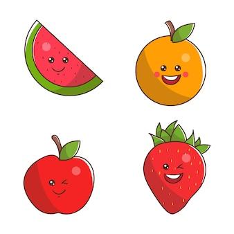 4 simpatici personaggi di frutta