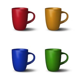 4 tazze colorate realistiche