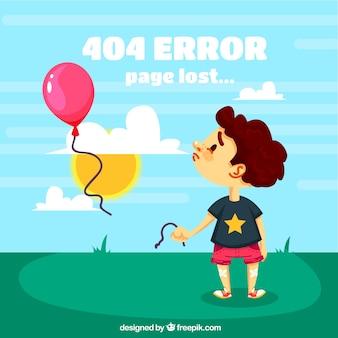 404 background di errore con il bambino triste e gli aerostati