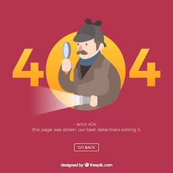 404 concetto di errore con detective