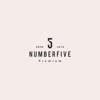 5 cinque numeri logo vettoriale icona segno