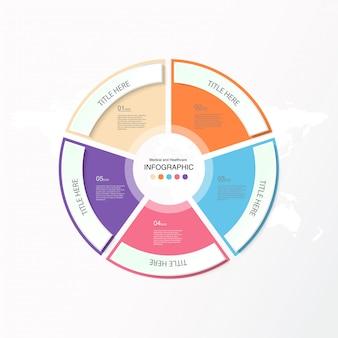 5 dati, infografica di base e icone per il concetto di business.