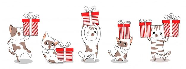 5 diversi personaggi di gatto e confezione regalo per banner di buon giorno