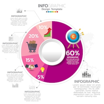 5 parti infographic design vettoriale e icone di marketing.