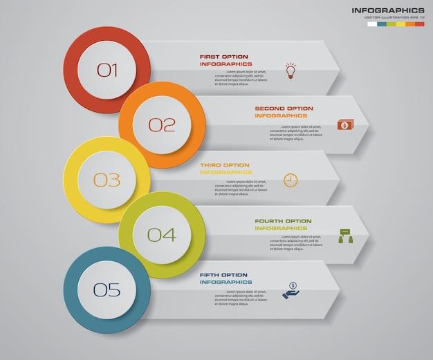 5 passi infographics elemento grafico della freccia.