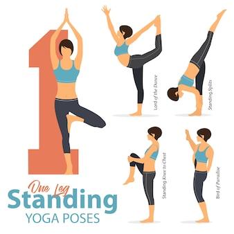 5 posizioni yoga in una gamba in piedi pone in design piatto.