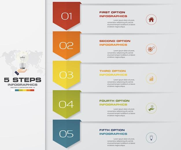 5 punti processo infografica elemento grafico.
