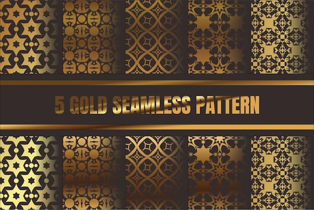 5 set bundling gold seamless pattern