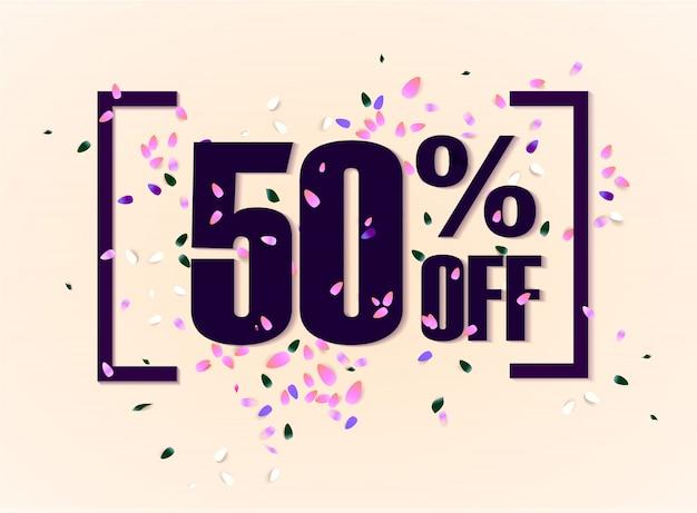 50 per cento di sconto sul banner di promozione di sconto