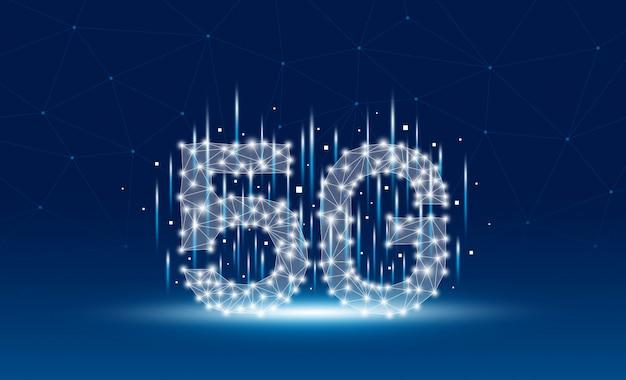 5g design della tecnologia di rete mobile su sfondo blu