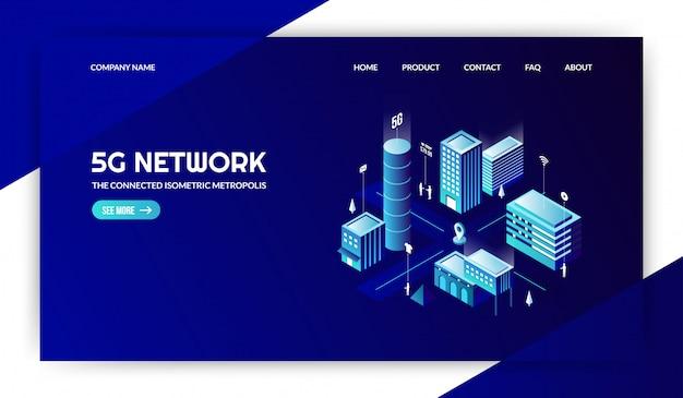 5g nework con la pagina di destinazione della città moderna collegata