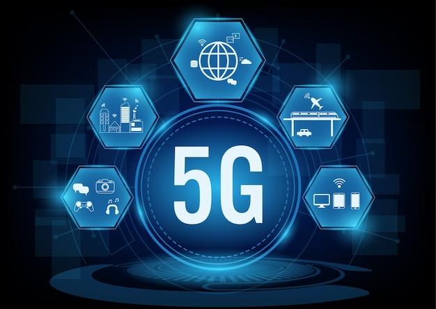 5g sistemi di rete di comunicazione con l'icona della linea.