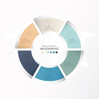 6 dati, infografica di base e icone per il concetto di business.