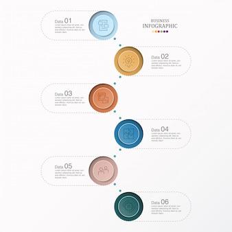 6 dati infografica e icone