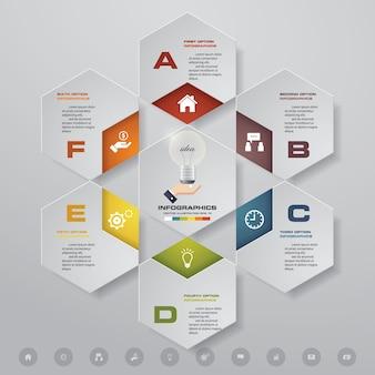 6 elementi infografica grafico moderno passi.