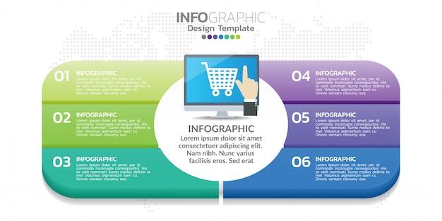 6 infografica con icone di colore può essere utilizzato per affari, modello.