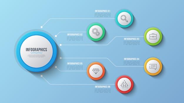6 opzioni design infografico, diagramma struttura, presentati