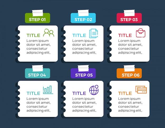 6 opzioni infografica moderna in carta