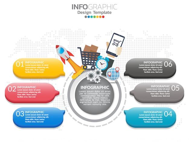 6 passo del modello di progettazione infografica timeline con opzioni, diagramma di processo.