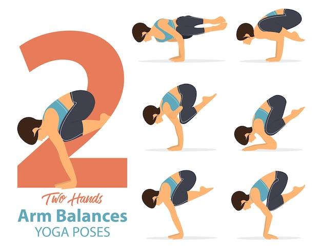 6 posizioni yoga nel bilanciamento delle braccia pone in design piatto.