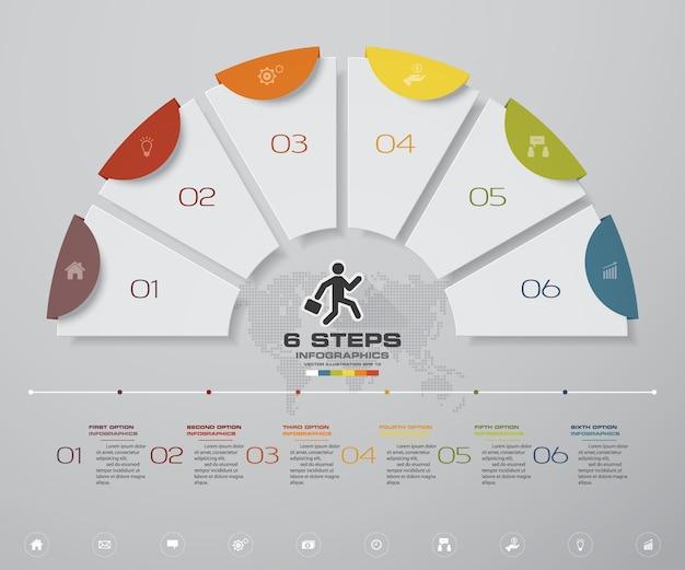 6 punti processo infografica elemento grafico.