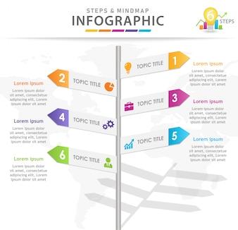 6 punti Roadmap Infographic con segnali stradali.