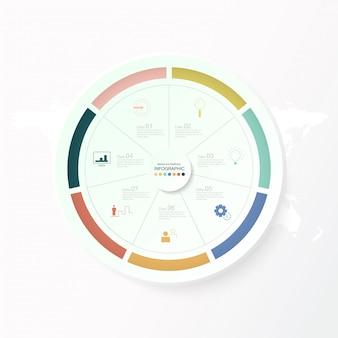 7 dati, infographics dei cerchi di base ed icone per il concetto di affari.