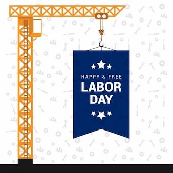 7 ° felice labor day settembre appeso bordo con la tipografia