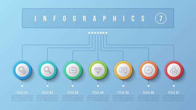 7 opzioni design infografico, diagramma struttura, presentati
