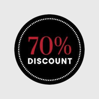 70 per cento fuori dal vettore del distintivo di vendita