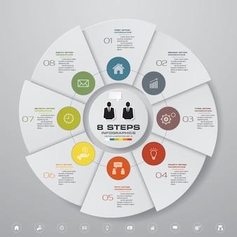 8 elementi di infografica grafico a torta moderno passi.
