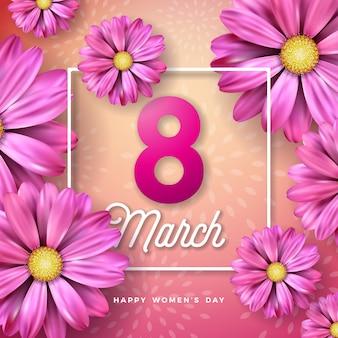 8 marzo. cartolina d'auguri floreale di felice giorno delle donne. illustrazione di festa internazionale con disegno floreale su sfondo rosa.