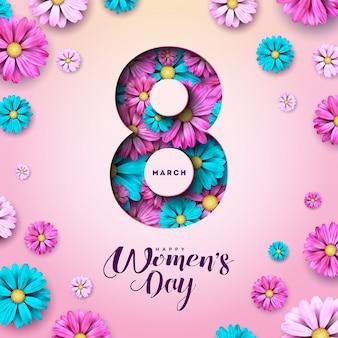 8 marzo. cartolina d'auguri floreale di felice giorno delle donne.