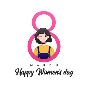 8 marzo felice giorno delle donne design illustrazione