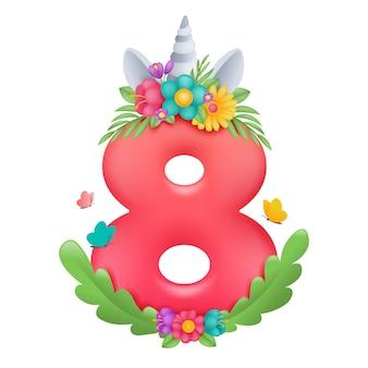 8 marzo. felice giorno delle donne. potere femminile. modello di biglietto di auguri con corno di unicorno in ghirlanda di fiori.