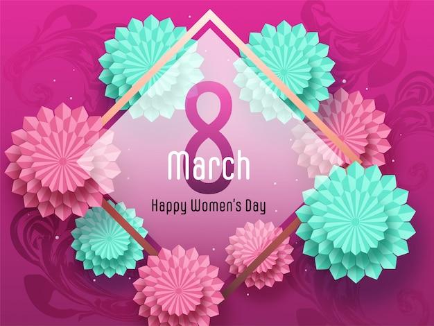 8 marzo, testo per la festa della donna felice con fiori tagliati di carta decorati su fondo effetto marmo rosa.